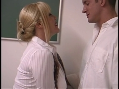 Aged golden-haired with heavy mounds fucked by student in the classroom