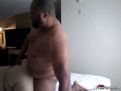 Fat interracial couple have doggystyle fuck