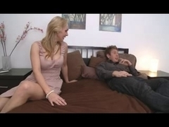 Breasty Mommy With Youthful Boy-Friend in Bedroom
