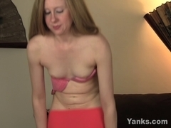 Cute slender blond copulates a gigantic dark sex toy