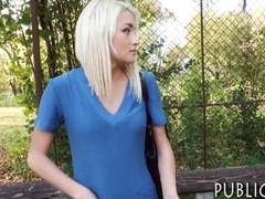 Amateur blonde Eurobabe banged and facialed for money