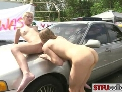 Girls washed car and fucked for charity