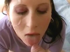 Taking a big load of jizz on my face