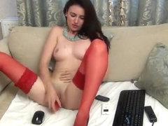 KrysaLove in red stockings kinky dildo action