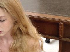 Religious redhead rubbing