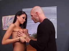 Johnny Sins' cock escapes into Raven Bay's cleft