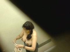 Amateur brunette dressing room cam video