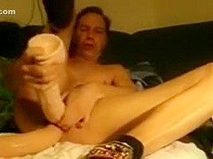Bizarre sex tool play - two XXL-dildos