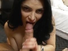 Elegant long haired milf masturbates in porn movie