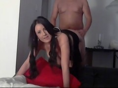 Tanned chick doggy fuck on webcam