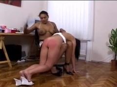 Black Mistress Spanks her White Slave