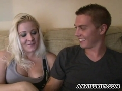 Amateur girlfriend sucks and fucks with cum in mouth