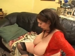 Unattractive corpulent old hag and younger redhead babe