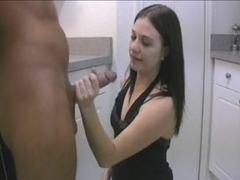 Handjob in kitchen witch huge cumshot on her dress