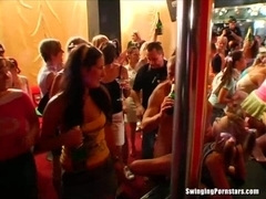 Sexy party chicks suck and fuck dicks in club