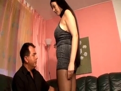 Hot mom gets her stocking torn and her slit nailed