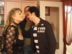 large old Lady fuck hard with 2 guy