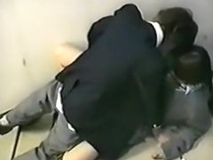 Voyeur tapes japanese students having sex on the stairs of their university building