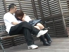 Hot Asian schoolgirl gives head outside