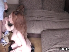 Redhead sucks dick for agents camera in casting