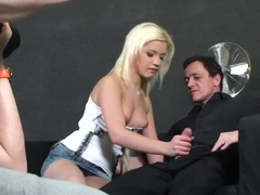 Golden haired Bibi Noel enjoys in giving a ride