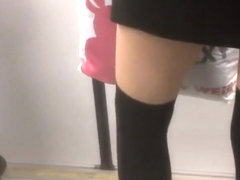 Unique style of a girl in the subway
