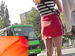 Girl gets caught on upskirt cam waiting bus with friend