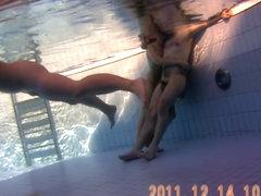 Swimming in sauna pool girls show nude bodies on spy cam