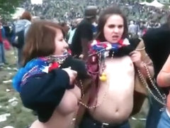 Crazy chicks flashing their tits