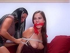 Two Brunette Lesbian Babe Bondage