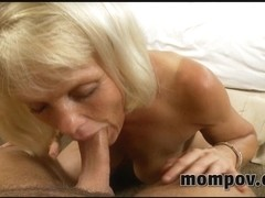 Short haired blonde sucks throbbing cock in milf video
