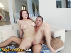 Big assed busty babe takes cock