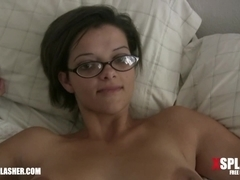 Amateur nerd masturbating and fingered