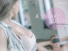 Amy White in A Sneaky Surprise Scene