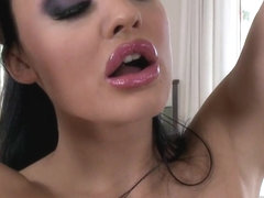 Gorgeous bitch Aletta Ocean gets hot alone in the couch playing with her sn...