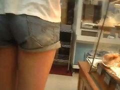 Shadowing of short pants and bra sneak shot