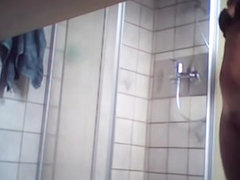 Cutie in the shower got naked on the spy cam