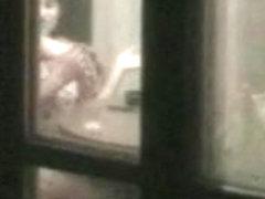 caught window neghbours couple hot voyeur