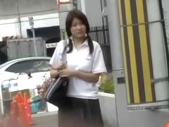 Public sharking video of stunning oriental cutie in the streets