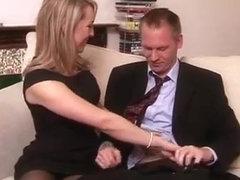 Blonde brit domina tugs cock