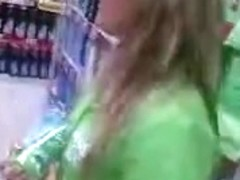 upskirt promoter girl in supermarket romania 2
