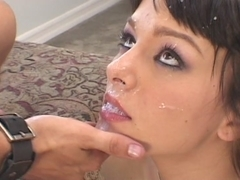 Brunette get her mouth full of cum after hot sex