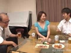 Hot mature Asian babe Izumi Takashima enjoys a cock ride