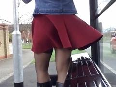 purple skirt windy upskirt stockings