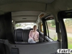 Pretty amateur blonde customer railed in the backseat