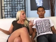 Big titted milf reamed by oriental guy