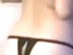 Amateur brunette MILF is wearing stockings in the video