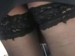 Black stockings upskirt in supermarket 2
