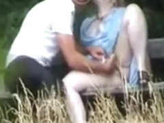 Mature couple in public park