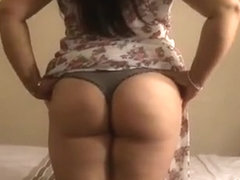Chubby shows ass and thong